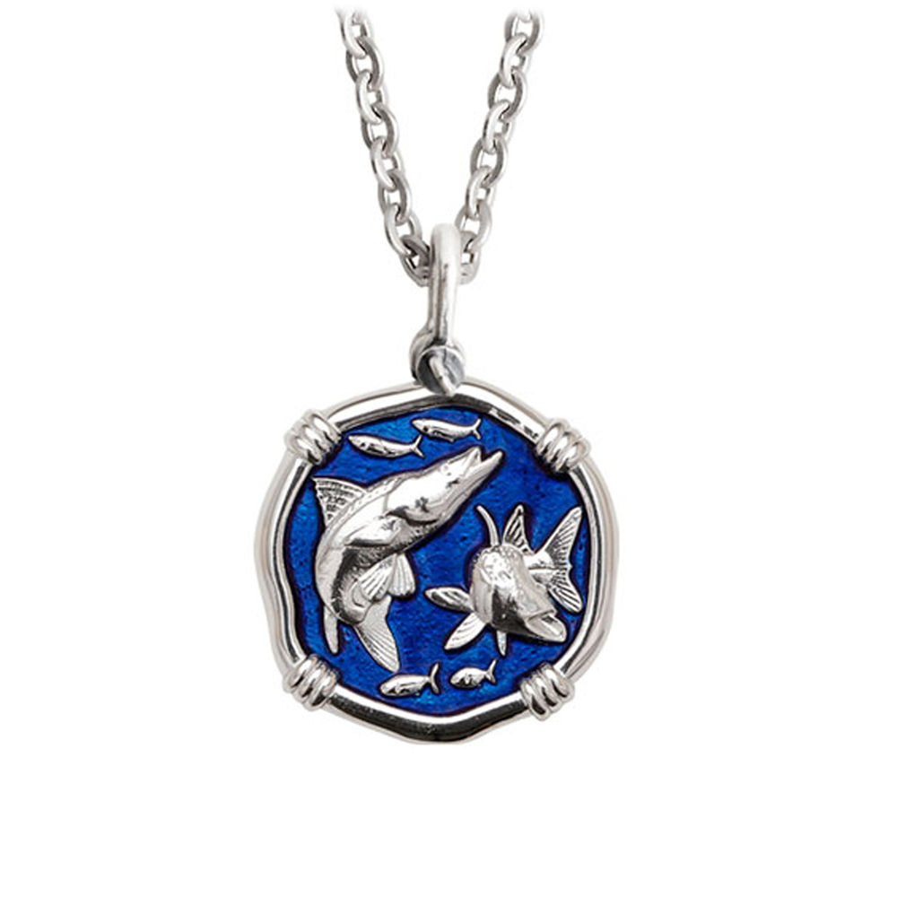 Guy Harvey Medium Gulf Stream Blue Enamel Sterling Silver Snook Necklace- Stainless Steel Chain