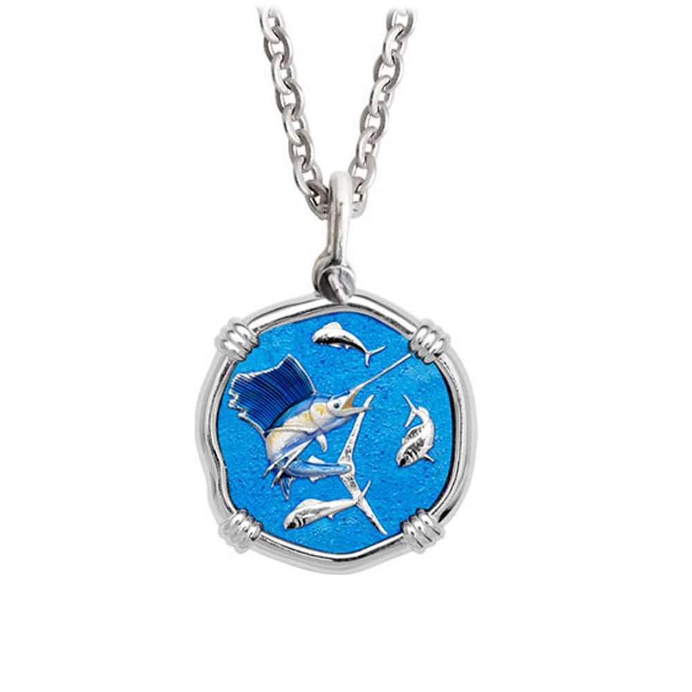 Guy Harvey Medium Full Color enameled Sterling Silver Sailfish Necklace - Stainless Steel Chain