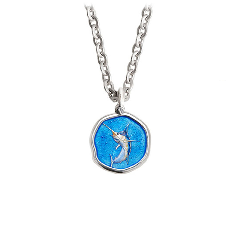 Guy Harvey Petite size Full Color enameled Sterling Silver Marlin Necklace - Stainless Steel Chain