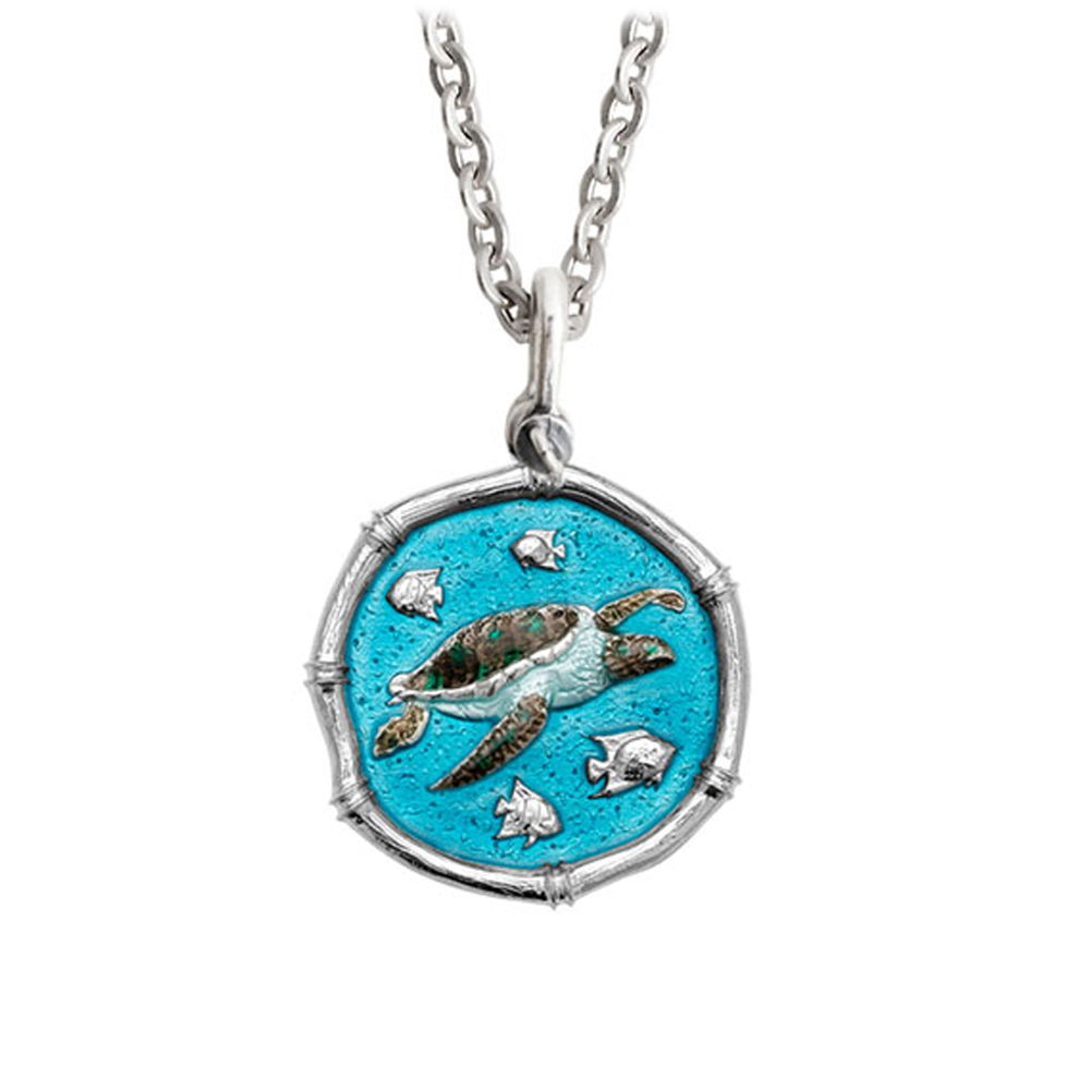 Guy Harvey Medium Full Color enameled Sterling Silver Sea Turtle Necklace- Stainless Steel Chain