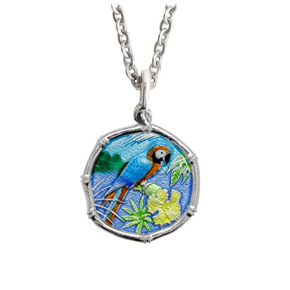 Guy Harvey Medium Full Color enameled Sterling Silver Macaw Necklace with Stainless Steel Chain
