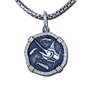 Guy Harvey 1.15ct Diamond Marlin Necklace in Sterling Silver.