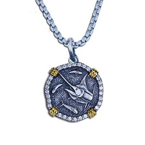 Guy Harvey 18K Gold and Sterling Silver with .60ct Diamonds Marlin Necklace
