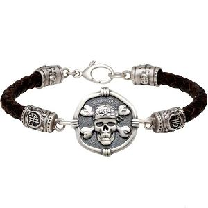 Guy Harvey Pirate on Black Leather GH Signature Bracelet Relic Finish 25mm Sterling Silver