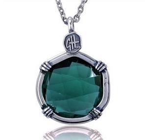 Guy Harvey Lab Created Green Tourmaline Sea Prism Necklace