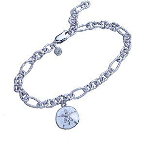 Guy Harvey - Sand Dollar Bracelet Sterling Silver and White Enamel