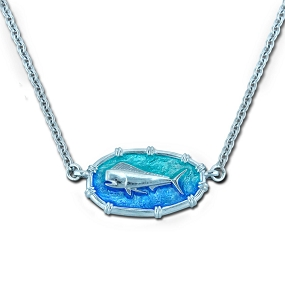 Ladies Dolphinfish Necklace Oval Bamboo - Enamel and Sterling Silver - Open Ocean Collection