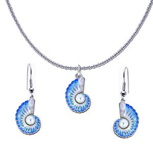 Guy Harvey Petite Nautilus Shell Necklace and Earring Set