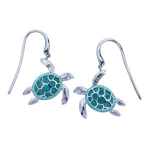 Guy Harvey Sea Turtle Earrings Enameled and Crafted in Sterling Silver- GREEN IS SOLD OUT