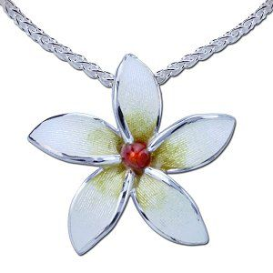 Guy Harvey Plumeria Flower Necklace - Enameled & Crafted in Sterling Silver