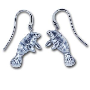 Guy Harvey Manatee Earrings Sterling Silver and Enamel