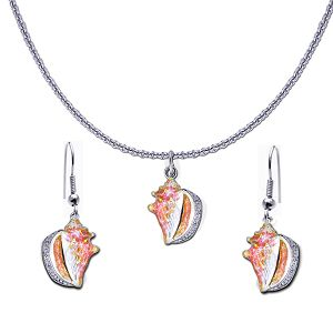 Guy Harvey Petite Conch Shell Necklace and Earring Set