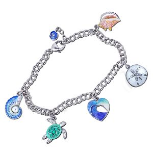 Guy Harvey Five Charm Bracelet in Hard Fired Enamel and Sterling Silver