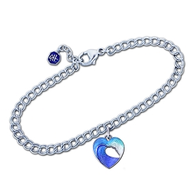 Guy Harvey - Heart of the Sea - Wave Bracelet in Sterling Silver and Enamel