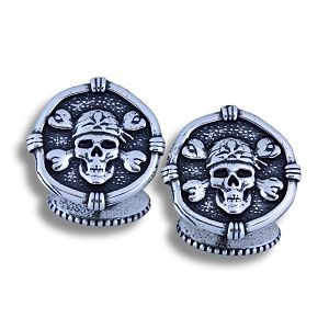 Guy Harvey Pirate Cufflinks Relic Finish Medium Sized Sterling Silver