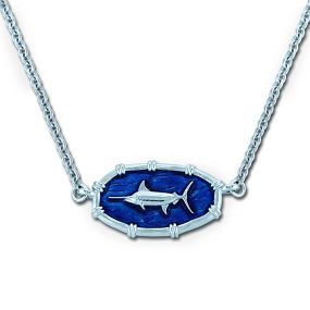 Ladies Marlin Necklace Oval Bamboo - Enamel and Sterling Silver - Open Ocean Collection