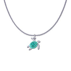 Guy Harvey Petite Sea Turtle on a Sterling Silver Link Chain