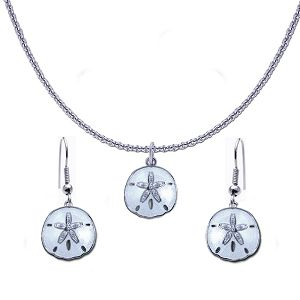 Guy Harvey Petite Sand Dollar Necklace and Earring Set