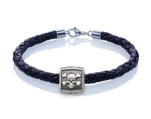 Guy Harvey Pirate Skull Trophy Slide Leather Bracelet