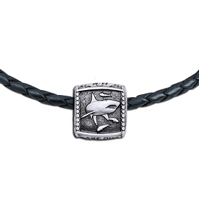 Guy Harvey Shark Trophy Slide Necklace on a Leather Color Cord