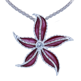 Guy Harvey Starfish Necklace Enameled and Crafted in Sterling Silver