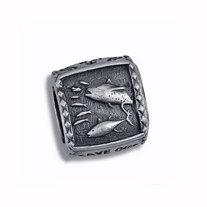 Guy Harvey Tuna Trophy Slide Relic Finish Sterling Silver