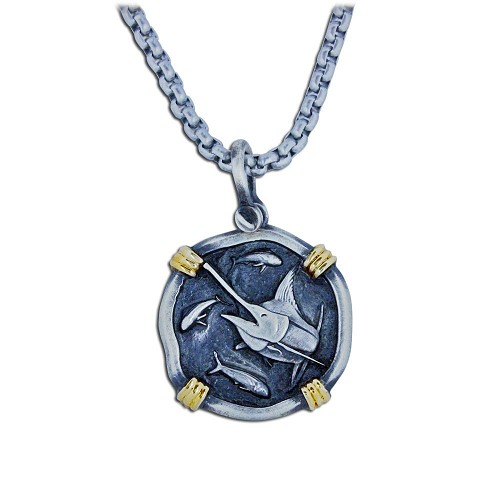 Guy Harvey 18K Gold and Sterling Silver Marlin Necklace