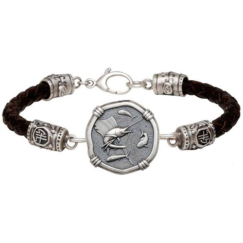Guy Harvey Sailfish on Black Leather GH Signature Bracelet Relic Finish 25mm Sterling Silver