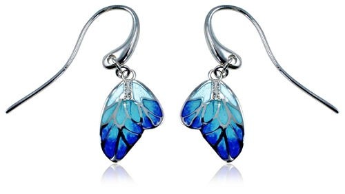 Guy Harvey Enameled Butterfly Wing Earrings Crafted in Sterling Silver