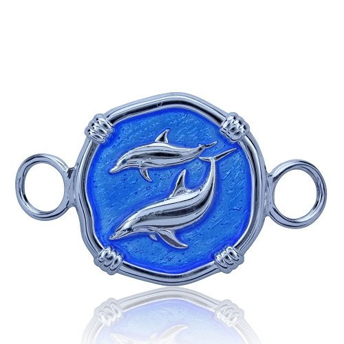 Guy Harvey Hook Bracelet Clasp Attachment with Porpoise in Sterling Silver and Carib Blue Enamel.