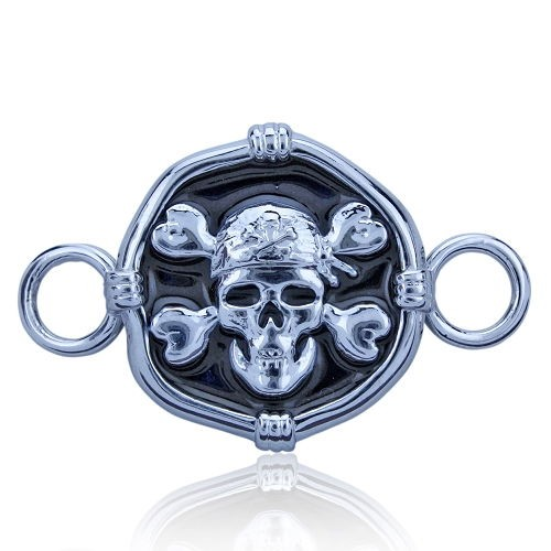 Guy Harvey Hook Bracelet Clasp Attachment with Pirate Skull in Sterling Silver and Jet Black Enamel.