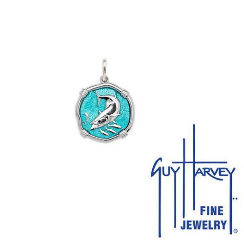 Guy Harvey Petite size Cayman Green enameled Sterling Silver King Mackerel Medallion