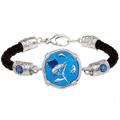 Guy Harvey Medium Sailfish Sterling Silver on Black Leather Bracelet Full Color Enamel