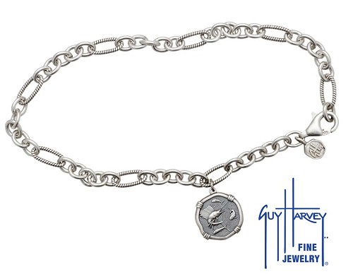 Guy Harvey Sailfish Adjustable Anklet Relic Finish 15mm Sterling Silver