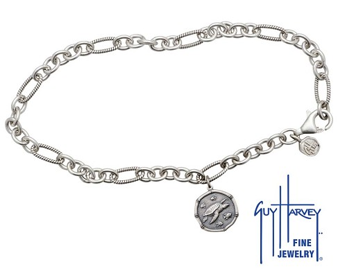Guy Harvey Sea Turtle Adjustable Anklet Relic Finish 15mm Sterling Silver