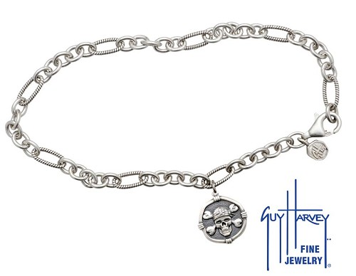 Guy Harvey Pirate Adjustable Anklet Relic Finish 15mm Sterling Silver