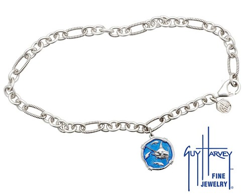 Guy Harvey Marlin Adjustable Anklet Caribbean Blue Enamel Bright Finish 15mm Sterling Silver