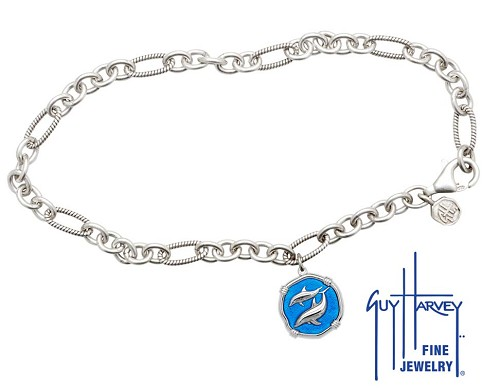 Guy Harvey Porpoises Adjustable Anklet Caribbean Blue Enamel Bright Finish 15mm Sterling Silver