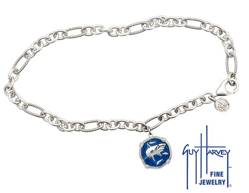 Guy Harvey Shark Adjustable Anklet Gulf Stream Blue Enamel Bright Finish 15mm Sterling Silver