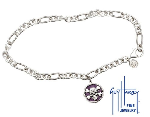 Guy Harvey Pirate Adjustable Anklet Purple Enamel Bright Finish 15mm Sterling Silver