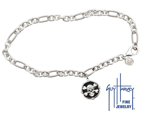 Guy Harvey Pirate Adjustable Anklet Black Enamel Bright Finish 15mm Sterling Silver