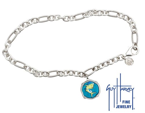 Guy Harvey Dolphin Adjustable Anklet Full Color Enamel Bright Finish 15mm Sterling Silver