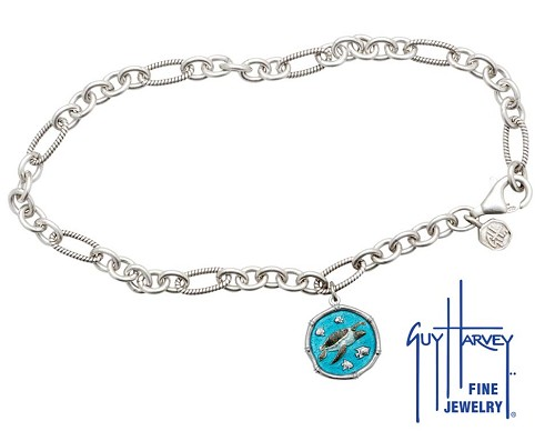 Guy Harvey Sea Turtle Adjustable Anklet Full Color Enamel Bright Finish 15mm Sterling Silver