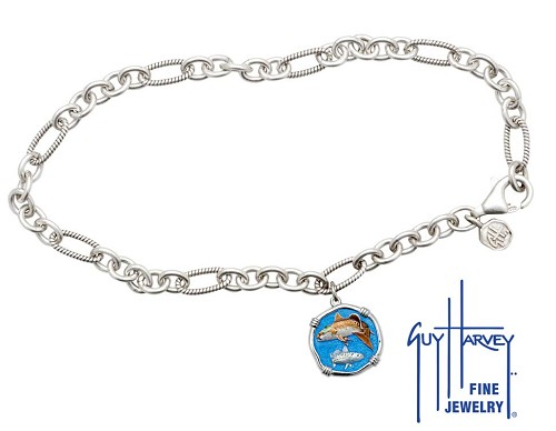 Guy Harvey Redfish & Trout Adjustable Anklet Full Color Enamel Bright Finish 15mm Sterling Silver