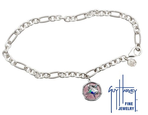 Guy Harvey Hummingbird Sterling Silver Adjustable Anklet Full Color Pink Enamel