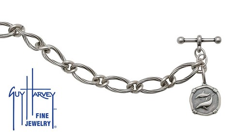 Guy Harvey Porpoises on Link Toggle Bracelet Relic Finish 15mm Sterling Silver