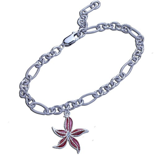 Guy Harvey Starfish Charm Bracelet in Hard Fired Enamel and Sterling Silver