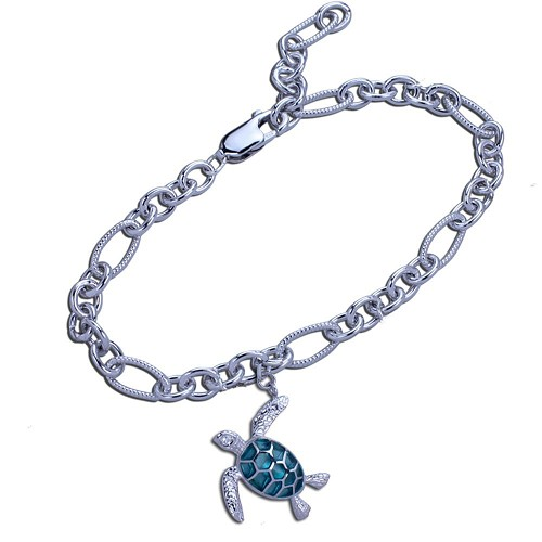 Guy Harvey Sea Turtle Charm Bracelet in Hard Fired Enamel and Sterling Silver