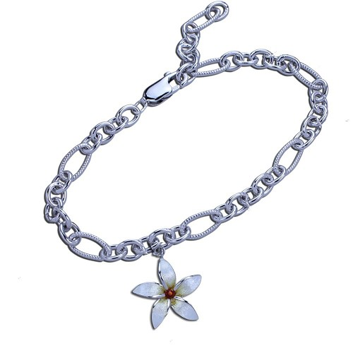 Guy Harvey Plumeria Charm Bracelet in Hard Fired Enamel and Sterling Silver