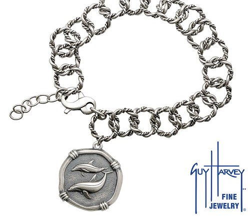 Guy Harvey Porpoise on Rope Link Bracelet Relic Finish 25mm Sterling Silver